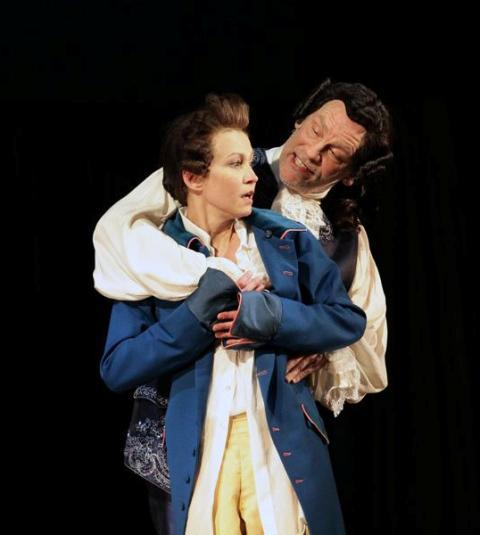 John Malkovich as Casanova on the stage