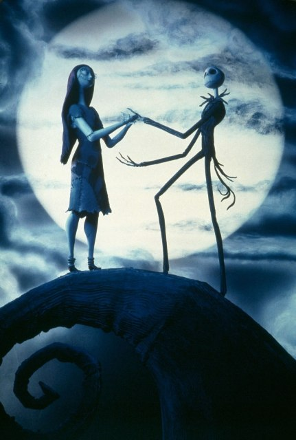 Jack Skeletron and Sally, still image from Tim Burton's The Nightmare before Christmas