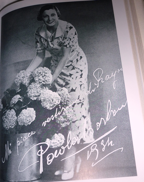 The actress Paola Borbone as testimonial of textiles and autarchic fashion, 1934