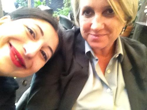 Silvia Venturini Fendi and me during the press conference for the launch of Galitzine capsule collection by Sergio Zambon