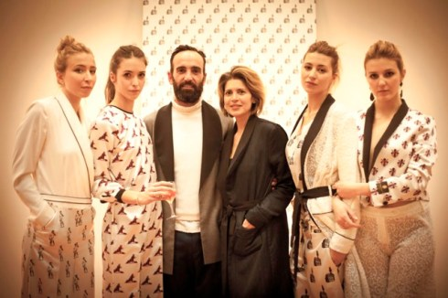 Emiliano Rinaldi along with the models waring the creations featuring in the collection Fall/Winter 2013-2014 he made, photo courtesy of Pitti