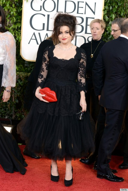 Helena Bonham Carter and the clutch by Lulu Guinness