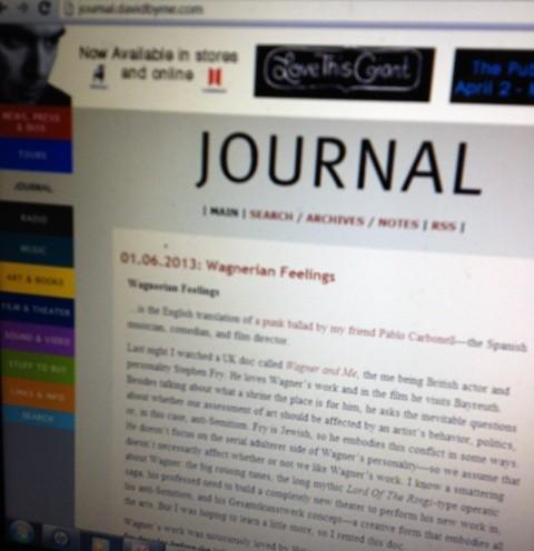 David Byrne's Journal