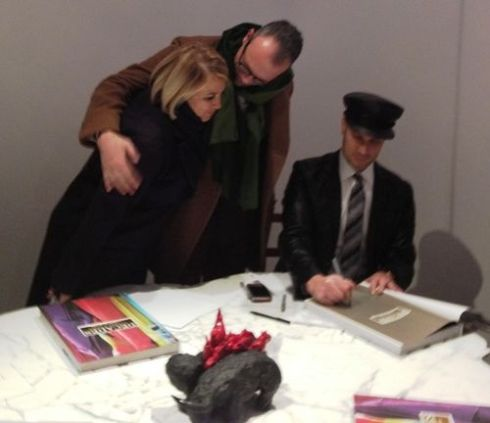 Silvia Venturini Fendi, Cesare Cunaccia and Cameron Silver who signs the book