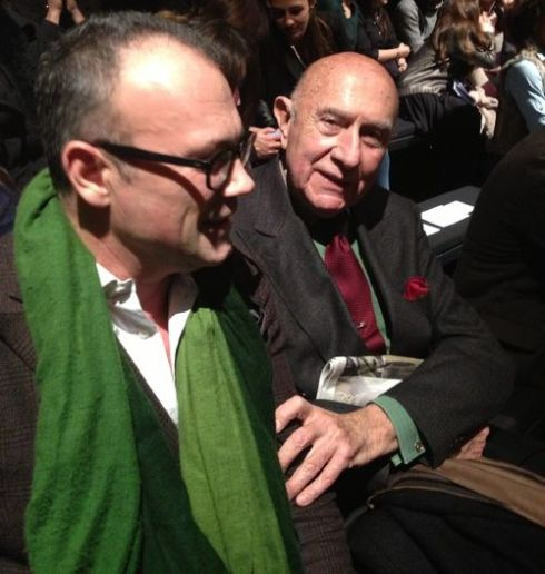 Two iconic gentlemen, Cesare Cunaccia and Beppe Modenese at the fashion show of Suzanne Susceptible