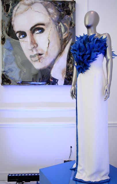 A creation by Renato Balestra along with his portrait