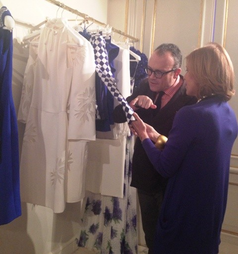 Cesare Cunaccia and Fabiana Balestra talking about the details of textiles and craftsmanship featuring in the Spring/Summer collection 2013 of Renato Balestra