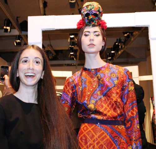 Caterina Gatta and a model wearing the creations she made at Super, photo by Giorgio Miserendino
