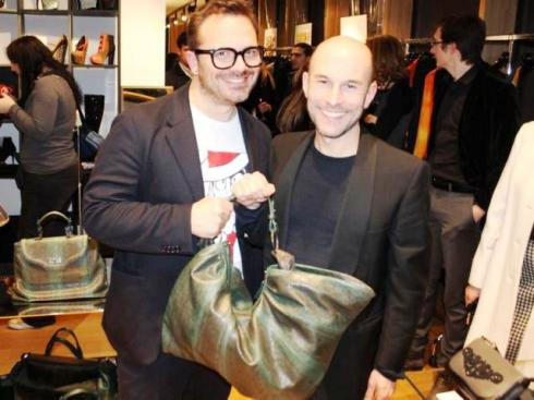 Massimiliano Battois, Silvano Arnoldo and the bag they made, photo by Giorgio Miserendino