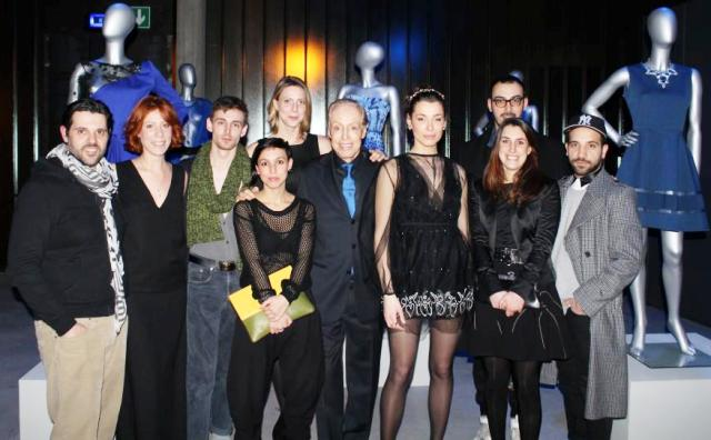 Renato Balestra, his nephew Sabrina Baldi on the left along with the young fashion designers featuring in the event, photo by Giorgio Miserendino