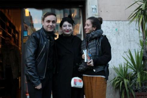 Sylvio Giardina, me and Caterina Gatta at the Fahrenheit 451 bookshop, photo by Giorgio Miserendino