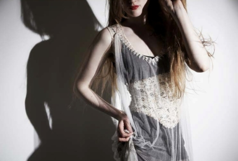 Lace leather corset by Paul Seville,  hand embroidered silk top by Steph Aman