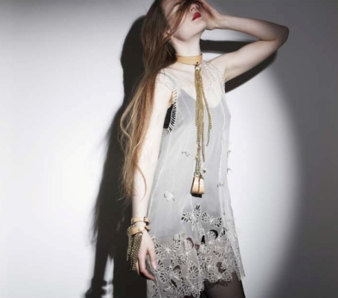 Crochet by Paul Seville, silk chiffon hand embroidered top by Steph Aman