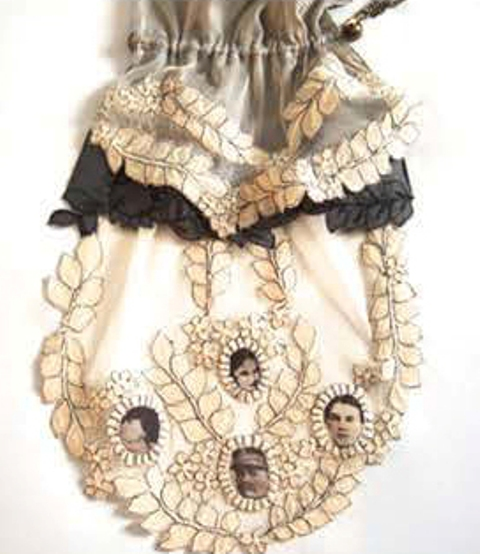 "Steph Aman, the Black alchemy collection:""Cameo Delux"", tripple layer with antique chain drape clast"