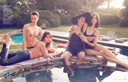 Anthony Kiedis, Ruby Aldridge, Alana Bunte and Faith Epton, photo by David Mushegain