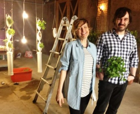 Cristiana Favretto and Antonio Girardi along with the hydroponics installation they made