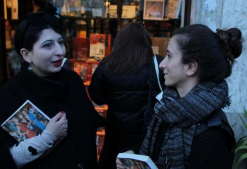 "A recent joyful memory, Caterina Gatta & me, behind the Fahrenheit bookshop before the book launch of ""Happy Fashion"" by Emanuele de Donno where we featured, photo by Giorgio Miserendino"