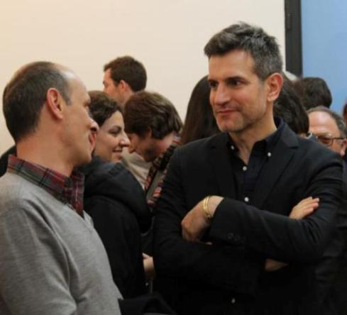 ergio Zambon talking with a friend at the Lorcan O' Neill Gallery, photo by Giorgio Miserendino