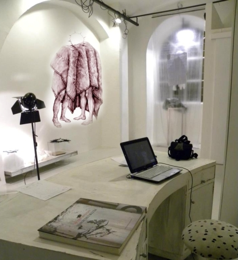 "The aspecific atelier by Myriam B. along with the work ""Il tuo silenzio acceso"" by Cristina Pancini"