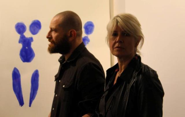 Davide Orlandi Dormino, Clara Tosi Pamphili and the work by Pizzi Cannella on the frame, photo by Giorgio Miserendino