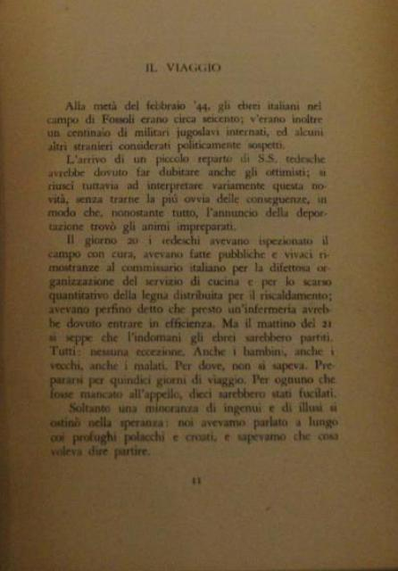 """A page from the book """"If this is a man-The truce"""", by Primo Levi"""