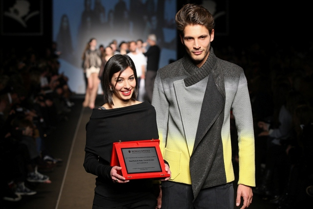 Francesca della Vallle, the Talents 2013 award she won and a model wearing the creations she made