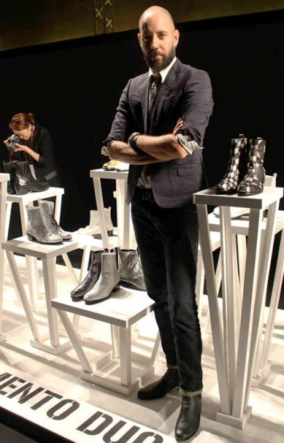 Fausto Poli, the fashion designer of brand Memento duo along with the shoes he made, photo by Giorgio Miserendino