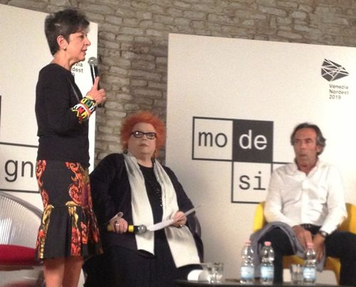 Maria Luisa Frisa introducing the second talk moderated by Giusi Ferrè featuring Stefano Beraldo