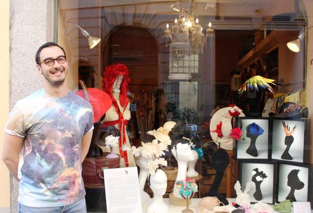 Francesco Ballestrazzi along with the hats he made at the shop windows of Cavalli & Nastri, photo by Giorgio Miserendino