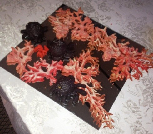 The coral and spider shaped appetizer made by Francesca Silveri in collaboration with the Foligno Forno di San Feliciano