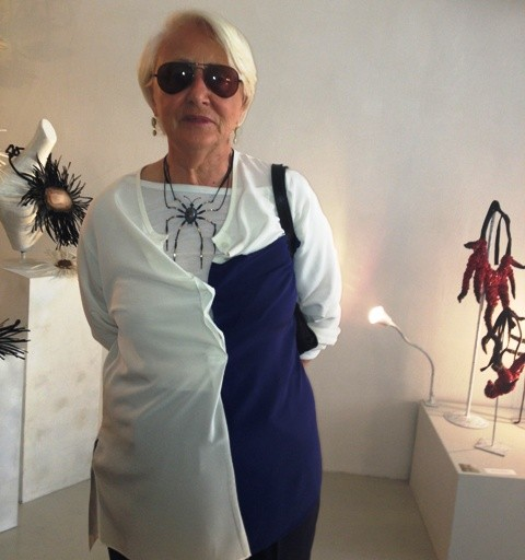 Deanna Ferretti Veroni wearing a necklace by Mario Salvucci and the creations by Myriam B