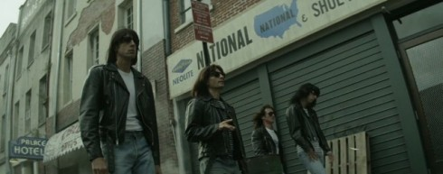 The Ramones on film, still image from CBGB by Randal Miller