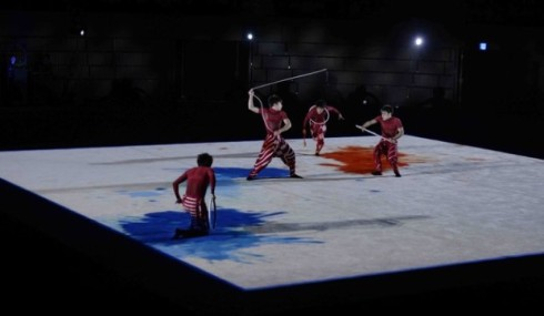 The performance directed by Daniel Ezralow featuring the male male rhythmic gymnastics team from the Aomori University , costumes by Issey Miyake, photo by Takao Fujita
