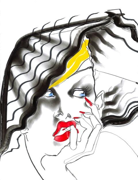 Janice Dickinon in a hat by Montana by Tony Viramontes, 1984,  courtesy of Galleria Carla Sozzani