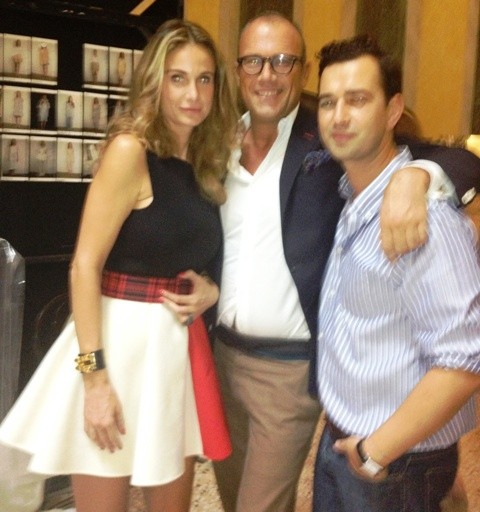 Angelos Bratis, Cesare Cunaccia and a friend at the backstage, photo by N