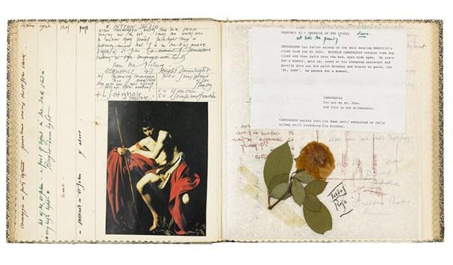 Documents, scripts concerning Caravaggio and pressed flowers by Derek Jarman