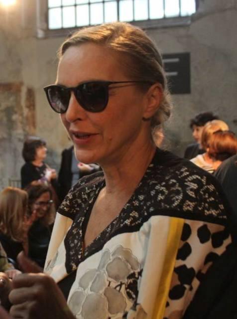 Simonetta Gianfelici at the backstage of Antonio Marras' fashion show, photo by Giorgio Miserendino