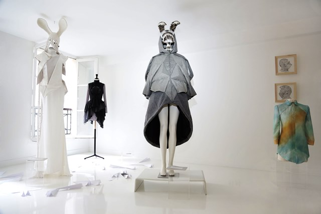 Coppelia Pique Fall/Winter 2013-2014 couture collection, mask by Paul Toupet, painting by Nanuk Anima Studio