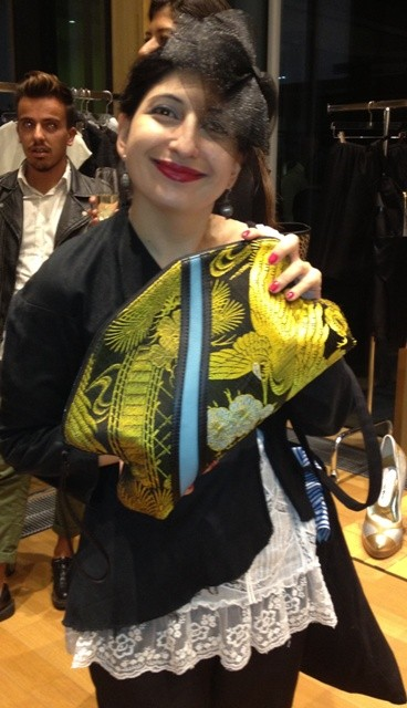 Me with a smashing bag by Arnoldo Battois made by using the ancient Japanese obi's fabrics and leather