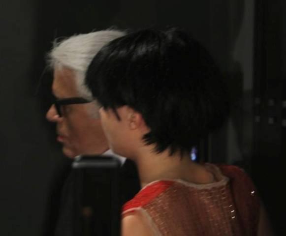 Cara Delevingne and Karl Lagerfeld, photo by Giorgio Miserendino