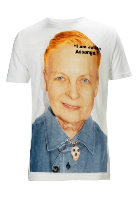 The limited edition of t-shirt by Vivienne Westwood to support Wikileaks and Julian Assange