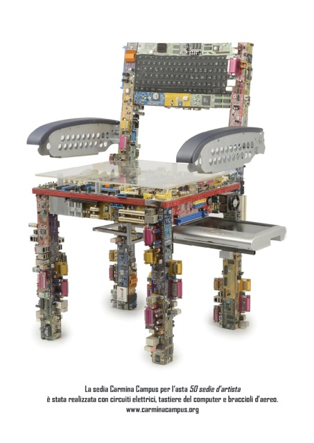 The Carmina Campus chair ( made of electronic circuits, airplane arms and computer keyboards)