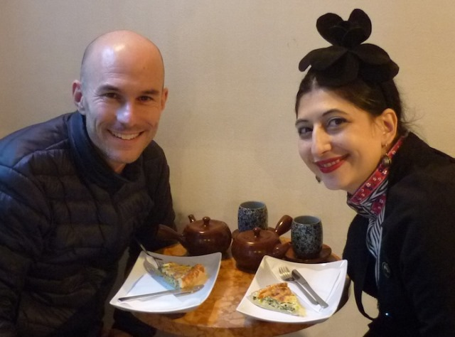 Silvano Arnoldo and me at the Beatrice tea-room, photo by the owner