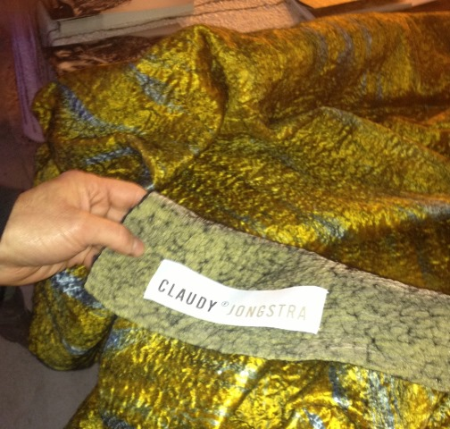 Silvano Arnoldo's hand touching the textile made by Claudy Jongstra, photo by N