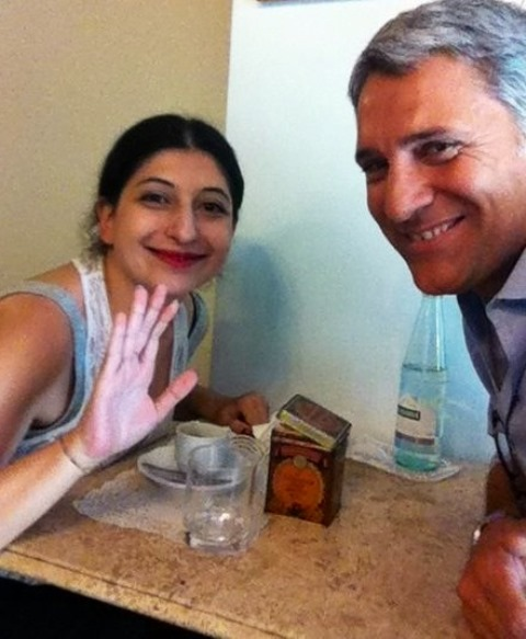 Enrico Quinto and me in Rome at one of my favorite coffee bar, Caffè Novecento, photo by its owner