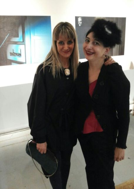 The brilliant jewerly designer Anna Porcu ( today is her birthday, thus I wish her happy birthday!  )wearing a necklace she made and me, photo by N