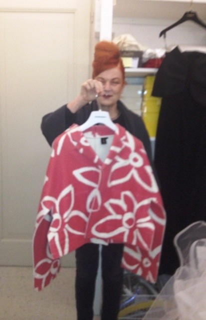 Roberta Valentini showing me a acket by Comme des Garçons, photo by N