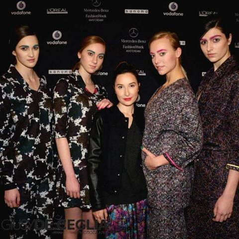 Lucia Russo along with the models wearing the creations she made at the Amsterdam Mercedes Benz Fashion Week, photo by Giusy De Ceglia