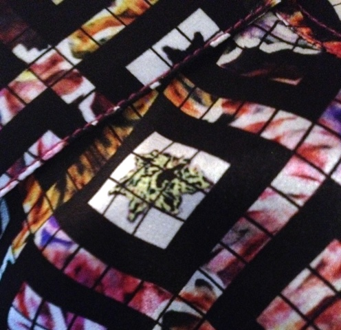 A detail of print on silk featuring in the Fall/Winter 2014-2015 capsule collection by L. Rousseau