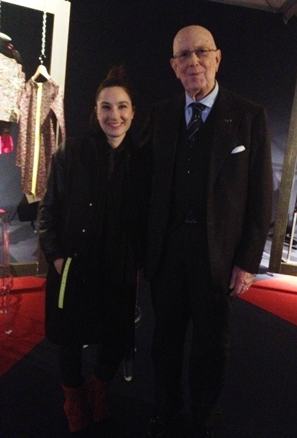 Lucia Russo along with the President of National Chamber of Italian Fashion Mario Boselli, photo by N